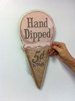 Metallschild Ice cream hand dipped