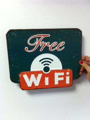 Metallschild Wifi free in grün