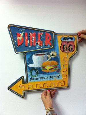 Metallschild Diner on Rout 66