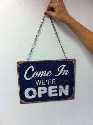 Metallschild Open