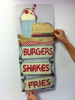 Metallschild Burgers,shakes and fries