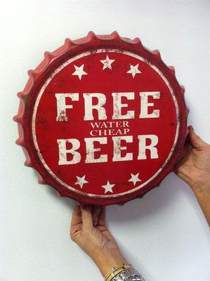 Metallschild Free beer