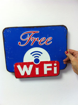 Metallschild Wifi free in blau
