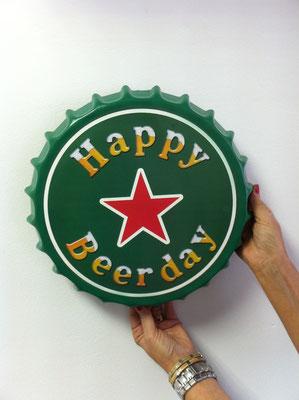 Metallschild  Happy beer day