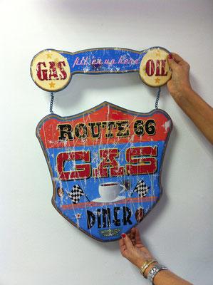 Metallschild Route 66 Gas, Oil, Diner