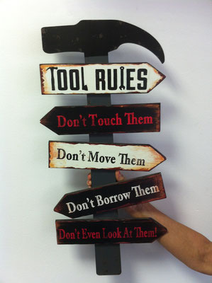 Holzschild Tool rules