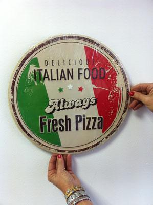 Metallschild Fresh Pizza