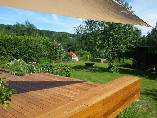Garapa Terrasse geölt mit Sonnensegel