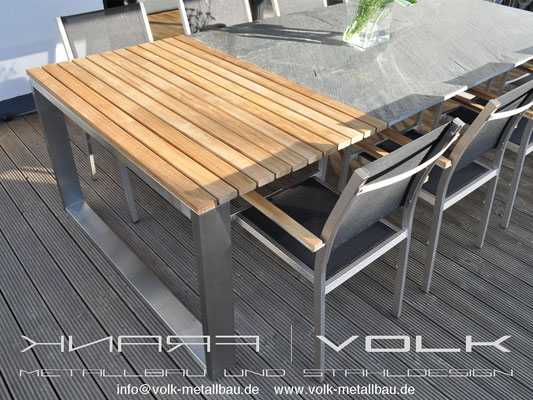 Teakholztisch mit Schieferplatte von Volk-Metallbau