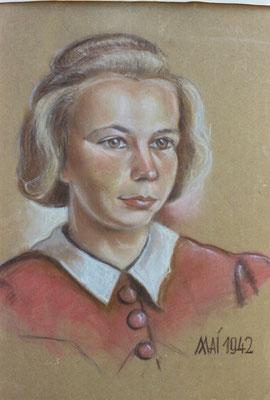 Pastellzeichnung: Maria Grausam - die kleine Schwester des Künstlers. Mai 1942