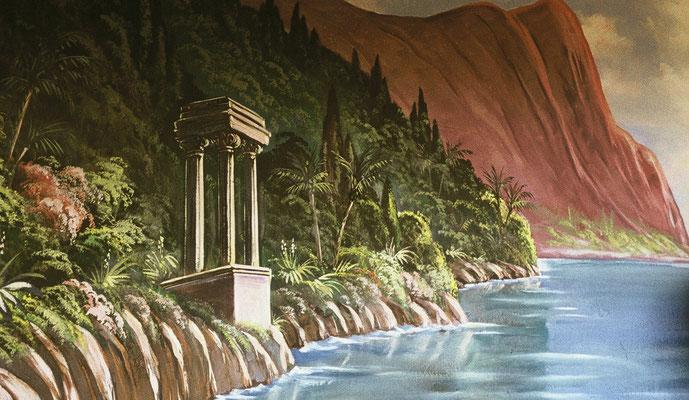 Wandmalerei: Italienische Ideal-Landschaft