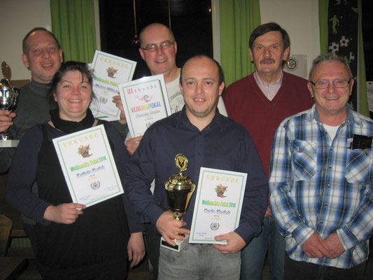 Pokalsieger 2014 v. l.: Markus Mühleis, Kathrin Korlek, Thomas Braun, Carlo Korlek, Günter Goßler und Norbert Korlek