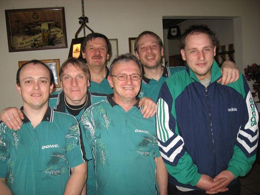 B-Klassen Meister 2007/2008: v.l. Carlo Korlek, Jörg Korlek, Günter Goßler, Norbert Korlek, Markus Mühleis und Martin Biber
