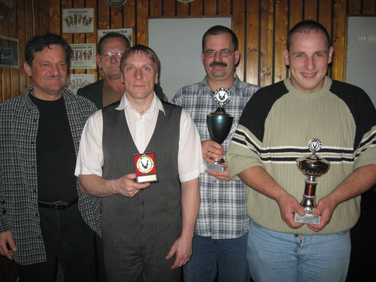 Pokalsieger 2007: v.l. 1. Vorsitzender Jörg Rudolph, Sportwart Gerhard Riedl, Jörg Korlek, Klaus Jakob und Martin Biber