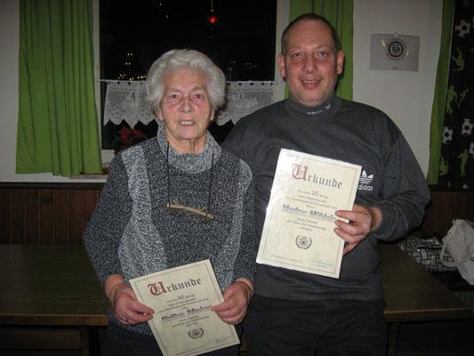 Jubilare 2014: Erika Meier (30 Jahre) und Markus Mühleis (25 Jahre)