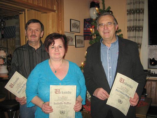 Jubilare 2013, von links: Günter und Isabella Goßler, Karl Heinz Rittig