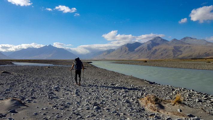 Rangitata River, auf der Suche nach einem geeigneten Übergang