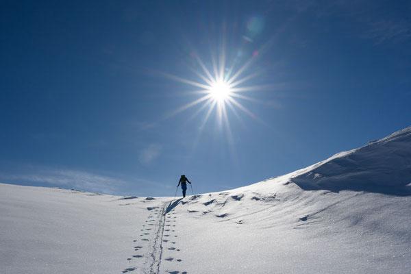 super Sonne beim Aufstieg