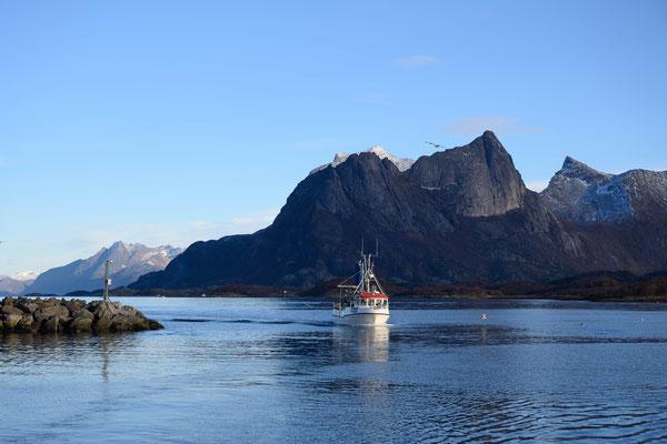 Fischerboote kommen in den Heimathafen