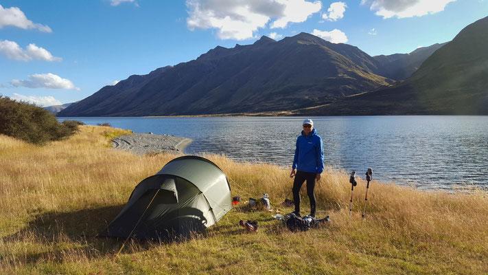 Zelten am North Mavora Lake Te Araroa