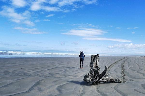 30km Strand am zweiten Tag am Te Araroa