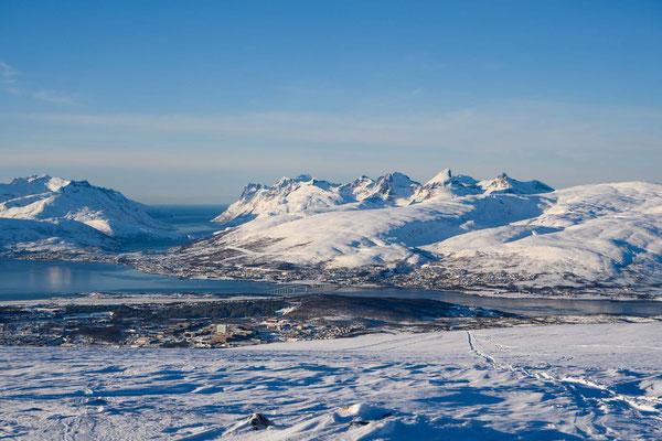 Rückblick nach Tromsø und yur Insel Kavløya