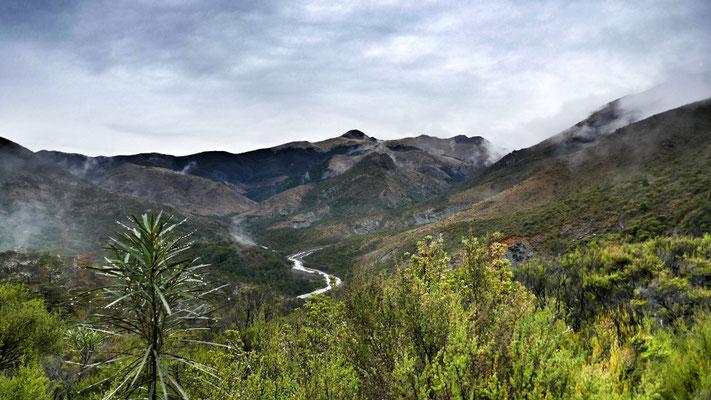 Blick von der Hunter Hut auf den Motueka River nach Starkregen