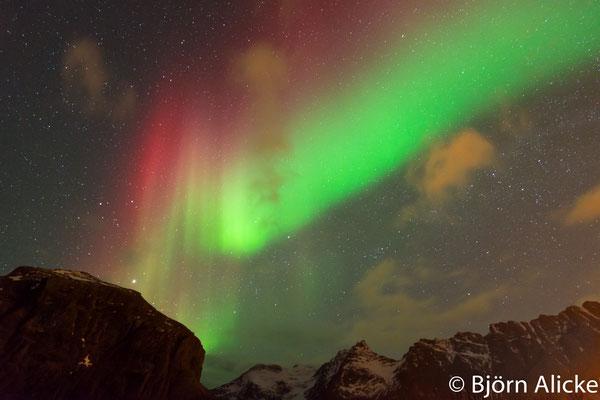 Lofoten, rot / grünes Polarlicht