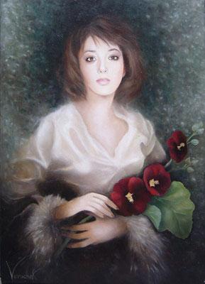 Jeune fille aux roses trémières - Huile sur toile - 40 x 50 cm