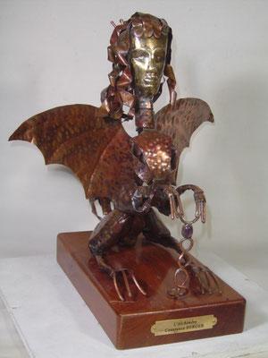 l' Alchimère - Bronze, cuivre rouge,  améthyste - H 30 x 24 x 14 cm
