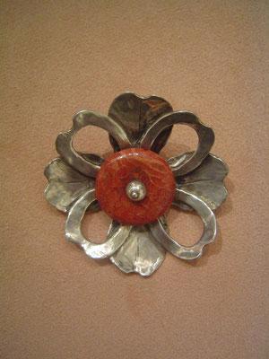 Fleur de corail - Broche argent et corail