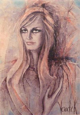 Dalida - Huile sur toile - 61 x 50 cm
