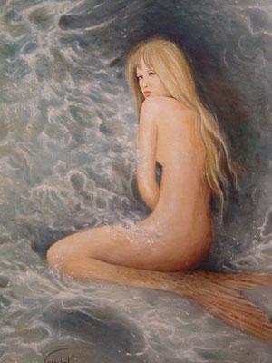 Sirène songeuse - Huile sur toile - 46 x 38 cm