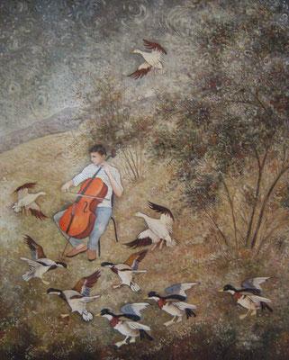 Concerto pour basse-cour - Huile sur toile - 61 x 50 cm