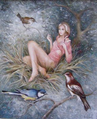 Nymphe au nid - Huile sur toile - 61 x 50 cm