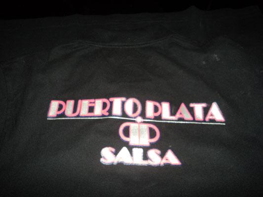 Polos para el pub Puerto Plata Salsa (Logos trasero 3 colores).
