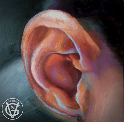 Esudio de oreja, Serie de cuadros sobre la expresividad de zonas corporales.