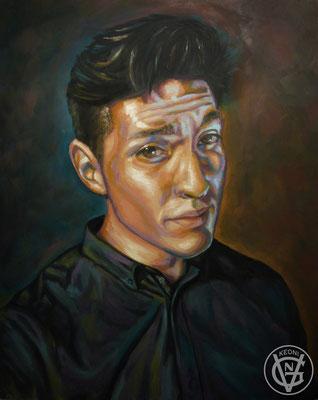 Autoretrato para clase de retrato, Óleo sobre tabla, 2015.