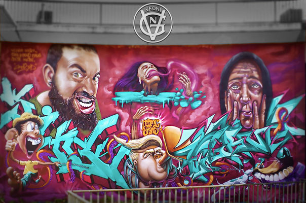 Age of abundance, Mural junto a mis compañeros de Grow Up Crew, Meeting of Styles, Wiesbaden, Alemania, 2017