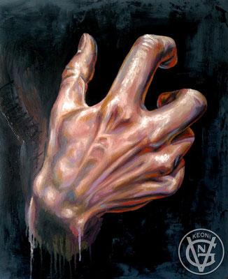 Esudio de mano #2, Serie de cuadros sobre la expresividad de zonas corporales.