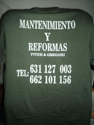 Camisetas para empresa de reformas con publicidad (parte trasera)
