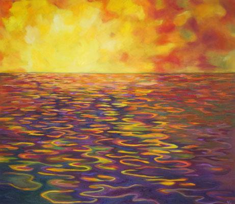 Von der Sonne geküsst, errötet das Meer in allen Farben     Öl auf Leinwand         130 x 150 cm