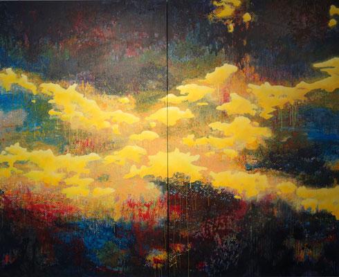 """""""Vom Hellen, vom Dunklen 2""""   2-teilig  200 x 250 cm   Acrylfarbe auf Leinwand"""