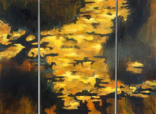 """""""Vom Hellen, vom Dunklen 1""""   3-teilig   180 x 220 cm  Acrylfarbe und Asche auf Leinwand"""