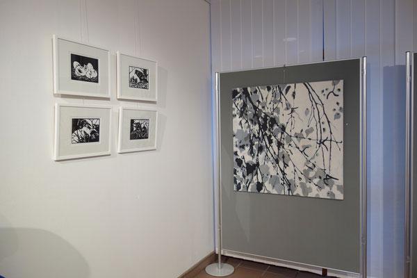 """4 Linolschnitte aus """"Die Rabenmutter""""        1. Bild der Birkenäste-Reihe 100 x 100 cm"""