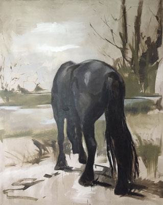 Grazing horse, oil on linen 250x200cm by Philine van der Vegte