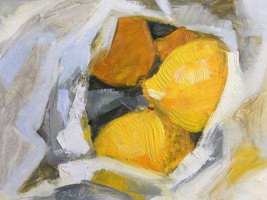 """""""Lemons in a plastic bag"""", oil on panel 15x20 cm"""