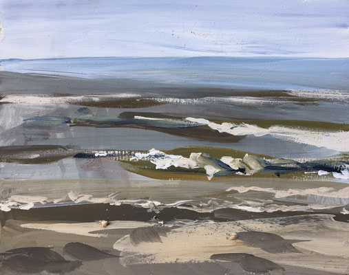 """Strand 22 juni"" gouache on panel 20x25cm, plein air seacape by Philine van der Vegte"