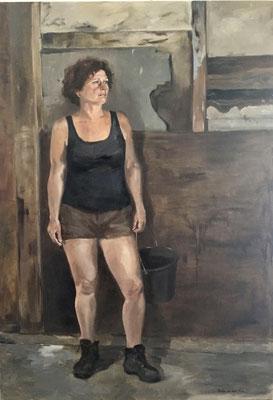 """""""Feeding the sheep"""", oil on linen 200x140cm by Philine van der Vegte SOLD"""
