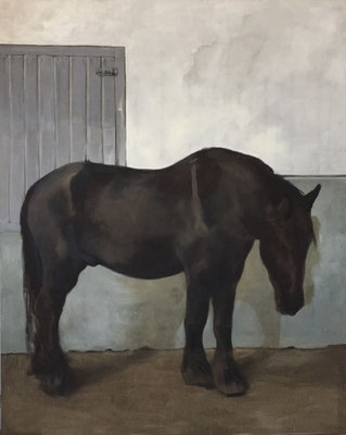 Big black horse, oil on linen 250x200cm by Philine van der Vegte